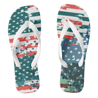Like an American. USA grunge flag Flip Flops