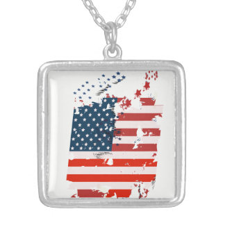 Like an American. USA grunge flag Silver Plated Necklace