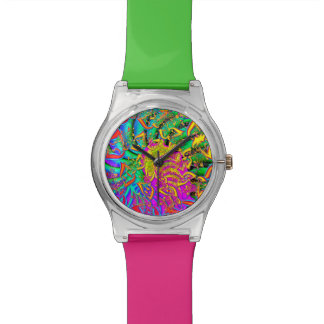 Like Candy Vibrant Psychedelic Fractal Wrist Watch