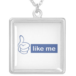 like me- thumbs up silver plated necklace
