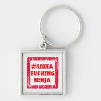 LikeAFuckingNinja Silver-Colored Square Keychain