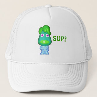 "Lil Alien dude says, ""Sup?"" Trucker Hat"