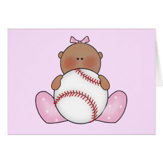 Lil Baseball Baby Girl - Ethnic Note Card