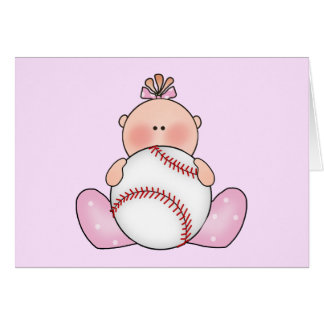 Lil Baseball Baby Girl Note Card