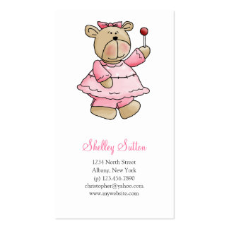 Lil' Bears · Baby Girl Pink Dress Business Card Templates