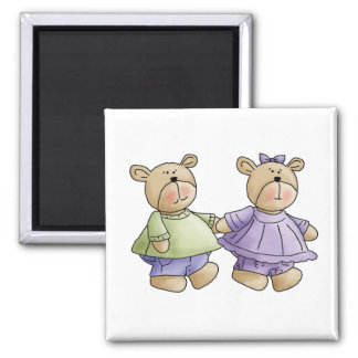Lil' Bears · Baby Twins Green & Purple Magnet
