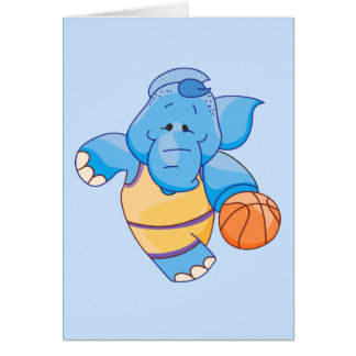 Lil Blue Elephant Basketball Greeting Cards