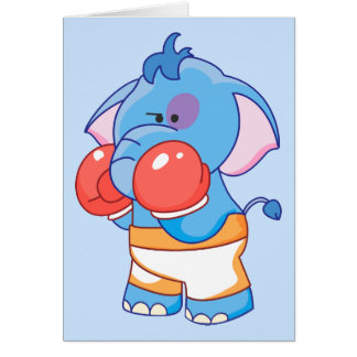 Lil Blue Elephant Boxing Note Card