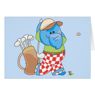 Lil Blue Elephant Golfing Note Card