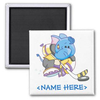 Lil Blue Elephant Hockey Magnet