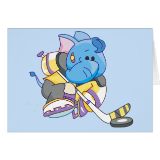 Lil Blue Elephant Hockey Note Card