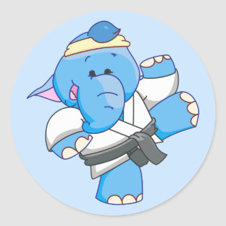 Lil Blue Elephant Karate Round Sticker