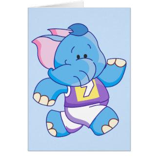 Lil Blue Elephant Running Card