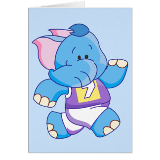 Lil Blue Elephant Running Note Card