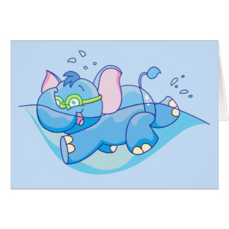 Lil Blue Elephant Swimming Note Card