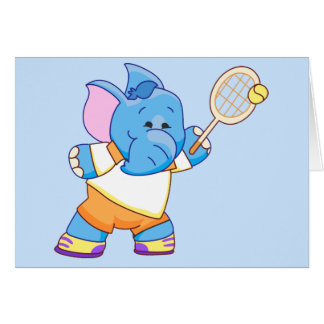 Lil Blue Elephant Tennis Note Card