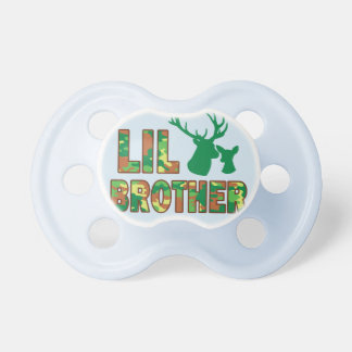 Lil Brother Camo Hunter Deer Baby Shower Pacifier