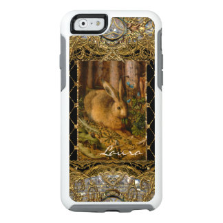 Lil Bunny in the Garden Girly Monogram Personalize OtterBox iPhone 6/6s Case
