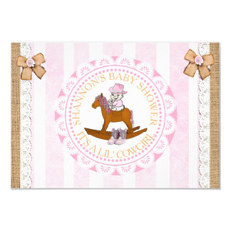 Lil' Cowgirl girl' country and Western Baby Shower Card
