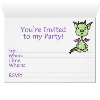 Lil Dragon 1st Birthday Fill-in Card Invite