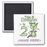 Lil Dragon 2nd Birthday Fridge Magnets
