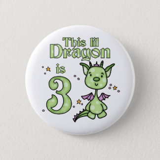 Lil Dragon 3rd Birthday 2 Inch Round Button