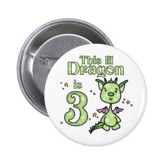 Lil Dragon 3rd Birthday 2 Inch Round Button