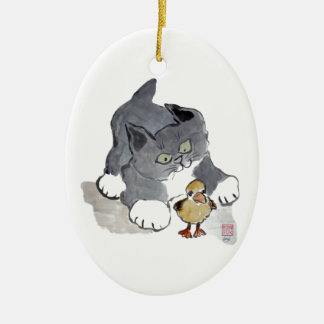Lil' Ducky and Gray Kitten Ceramic Ornament
