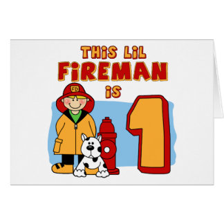 Lil Fireman 1st Birthday Note Card
