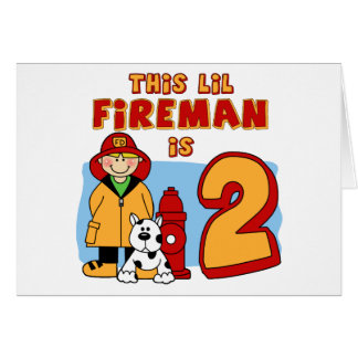 Lil Fireman 2nd Birthday Note Card