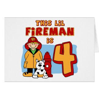 Lil Fireman 4th Birthday Note Card