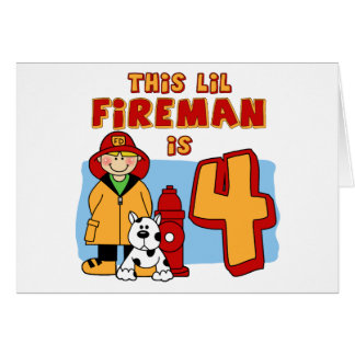 Lil Fireman 4th Birthday Note Card