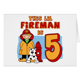 Lil Fireman 5th Birthday Note Card