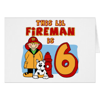 Lil Fireman 6th Birthday Note Card