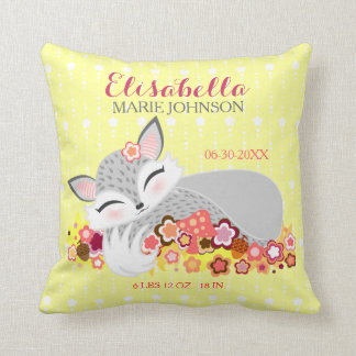 Lil Foxie Cub - Custom Birth Announcement Pillow