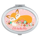 Lil Foxie Cub - Cute Baby Fox with Custom Name Travel Mirror
