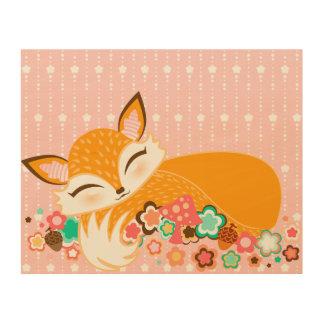 Lil Foxie Cub Wood Prints