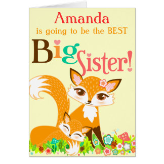 Lil Foxies Big Sister - Custom Greeting Card
