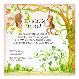 "Lil Monkey, Girl Baby Shower Invitation 5.25"" Square Invitation Card"