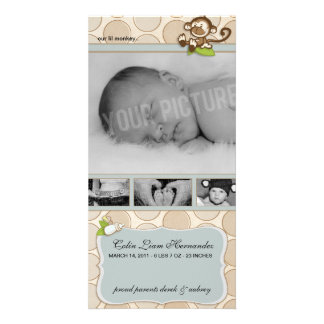 Lil Monkey New Baby Birth Announcements Personalized Photo Card