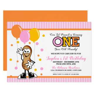 Lil Peanut ONE (girl) Birthday Invitation