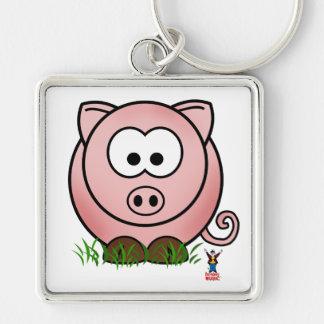 Lil Piggy Silver-Colored Square Keychain