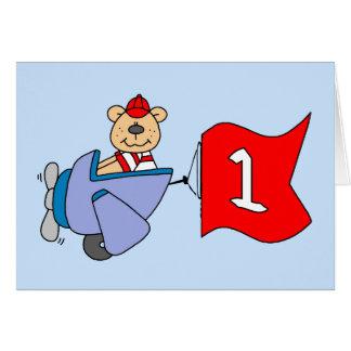 Lil Pilot Bear 1st Birthday Cards