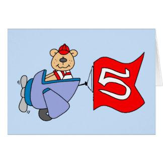 Lil Pilot Bear 5th Birthday Card