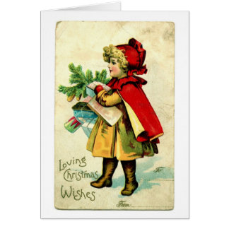 Lil' Red Riding Hood Vintage Christmas Card