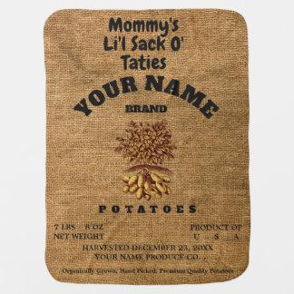 """Li'l Sack O' Taties"" Burlap Potato Sack Baby Blanket"