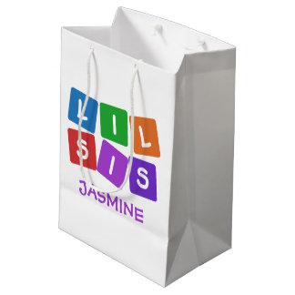 Lil Sis custom name gift bags Medium Gift Bag