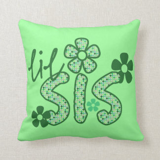 Lil Sis Green Flowers Throw Pillow