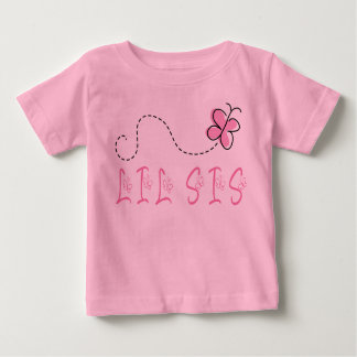 Lil Sis Pink Butterfly Infant Tee Shirt