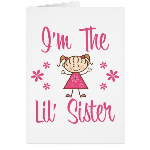 Lil Sis Pink Girls Greeting Cards